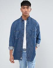 conduct denim shirt mid blue