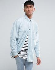 conduct destroy denim shirt pale blue