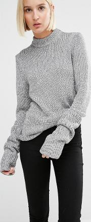 High Neck Knit Jumper With Extended Sleeves