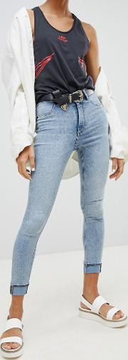 high waisted bleached out super skinny jean