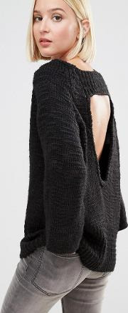 knit jumper with open back