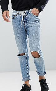 Sonic Slim Jeans With Blown Out Knee