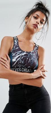 cheats & theives bralet in marble print with logo banding