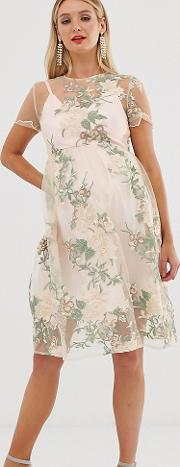 Embroidered Midi Dress With Sheer Overlay