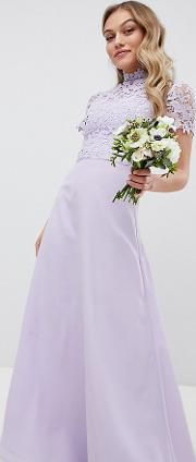 2 in 1 high neck maxi dress with crochet lace