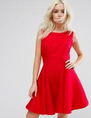 Chi  London Petite Fit And Flare Mini Dress With Seam Detail
