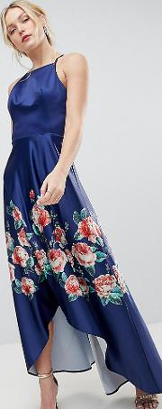 High Low Midi Dress With Placement Floral Print