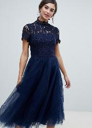 High Neck Lace Midi Dress With Tulle Skirt