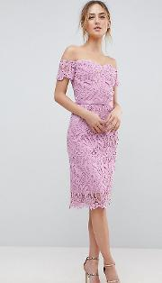 lace bandeau midi dress with sweetheart neck