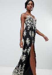Scalloped Plunge Maxi Prom Dress With Gold Embroidery
