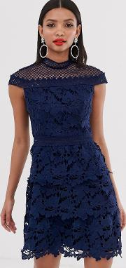 Tiered Lace Line Mini Dress