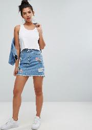 floral embroidery distressed denim skirt