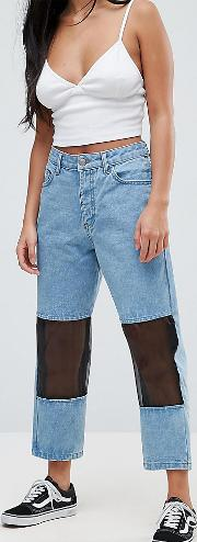 mesh panelled mom jeans
