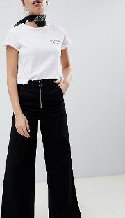 Wide Leg Jeans With Exposed Zip And Star Puller