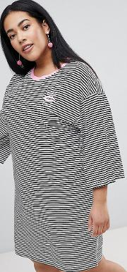 flared sleeve striped  shirt dress with embroidery