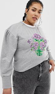 Mutton Sleeve Sweater With Sequin Floral