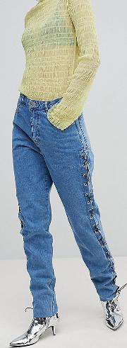 Lace Up Side Mom Jeans