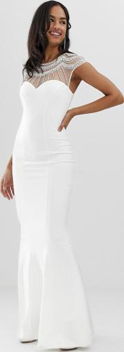 Capped Sleeve Fishtail Maxi Dress With Embellished Detail