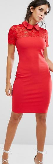 collared pencil dress with lace yoke