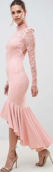 long sleeve high neck fishtail maxi dress with lace detail