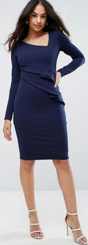 Long Sleeve Pencil Dress With Ruched Detail
