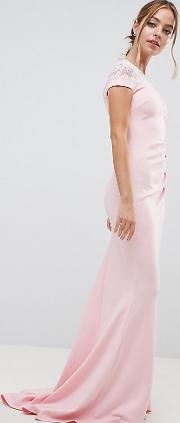 fishtail maxi dress with lace detail