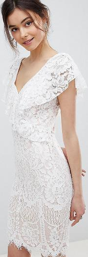 Lace Pencil Dress With Frill Overlay