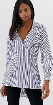 Closet Stripe Cross Over Blouse