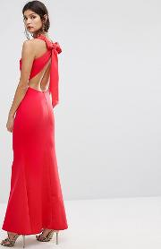 bow back detail maxi dress