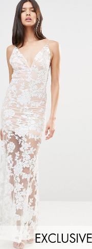 cami strap floral sequin fishtail backless maxi dress