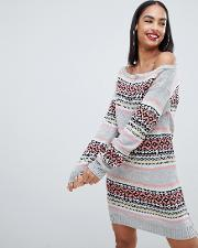 Christmas Off The Shoulder Jumper Dress With All Over Intarsia Fairsle Print