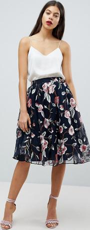 embroidered floral skirt in tulle