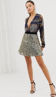 Full Flare Sequin Skater Skirt