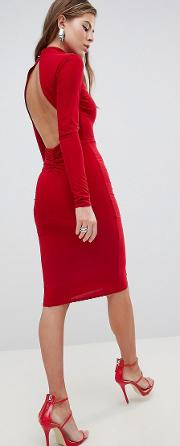 High Neck Ruched Detailed Open Back Slinky Midi Dress