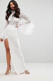 lace flute sleeve high neck maxi dress with wrap front skirt