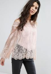 off shoulder bell sleeve lace top with cami underlay