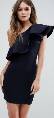 one shoulder ruffle structure detail dress