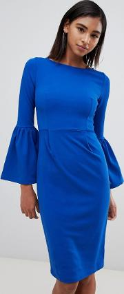 Pencil Dress With Extreme Frill Sleeve