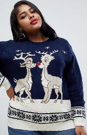 Christmas Jumper With Kissing Rudolph