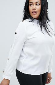Collared Chiffon Blouse With Gold Button Detail