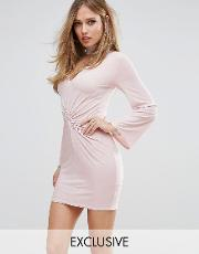 twist knot front mini dress with choker detail and fluted sleeves
