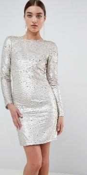 Two Tone Sequins Low Back Bodycon Mini Dress