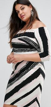 colombus bardot striped pencil dress