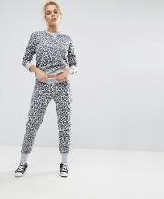 Essentials Leopard Pant In Grey