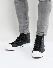 jack purcell leather mid plimsolls in black 157707c