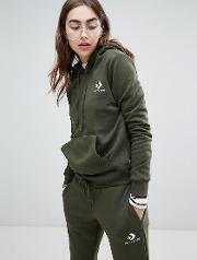 star chevron embroidered pull over hoodie