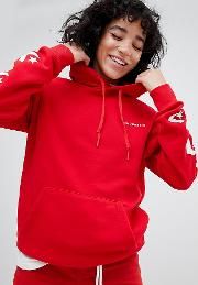 star chevron graphic pullover hoodie in red