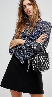 polka dot front tie bell sleeve blouse