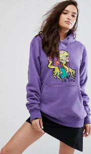 hood with graphic skate print