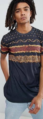 t shirt in black with chest print